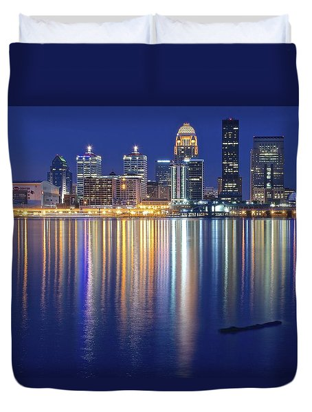 Louisville During Blue Hour Duvet Cover by Frozen in Time Fine Art Photography