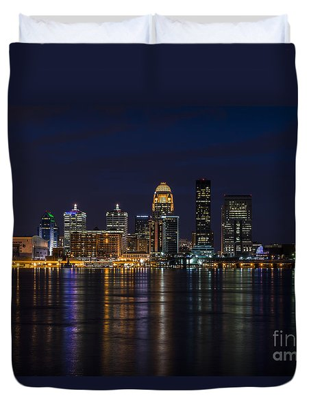 Duvet Cover featuring the photograph Louisville Skyline by Andrea Silies