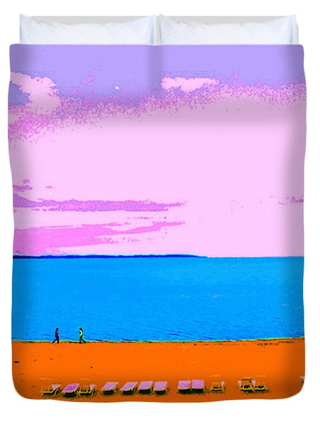 Lounge Chairs On The Beach Duvet Cover
