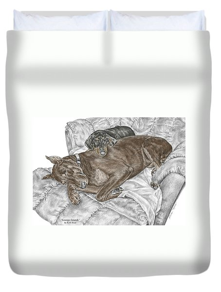 Lounge Lizards - Doberman Pinscher Puppy Print Color Tinted Duvet Cover by Kelli Swan