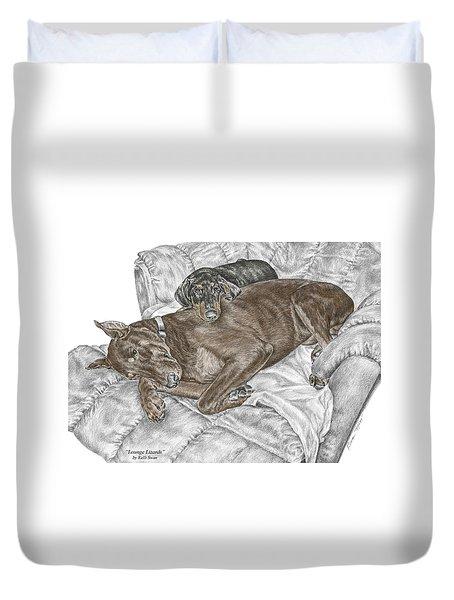 Lounge Lizards - Doberman Pinscher Puppy Print Color Tinted Duvet Cover