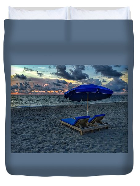 Lounging By The Sea Duvet Cover