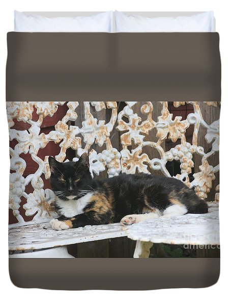 Lounging Kitty Duvet Cover by Wendy Coulson