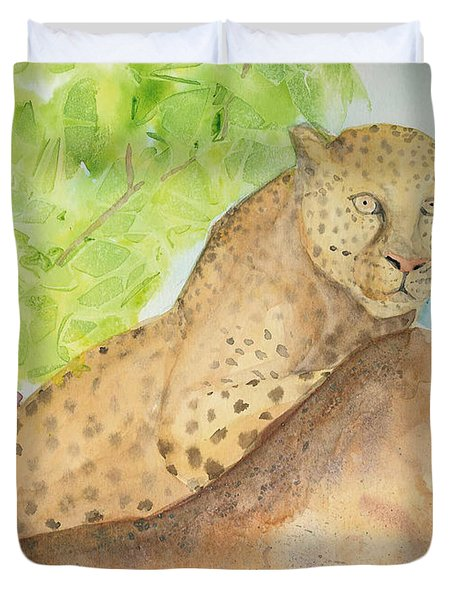 Duvet Cover featuring the painting Lounging Leopard by Vicki  Housel