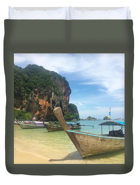 Lounging Longboats Duvet Cover