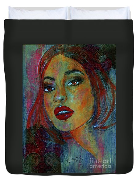 Duvet Cover featuring the painting Lourdes At Twilight by P J Lewis