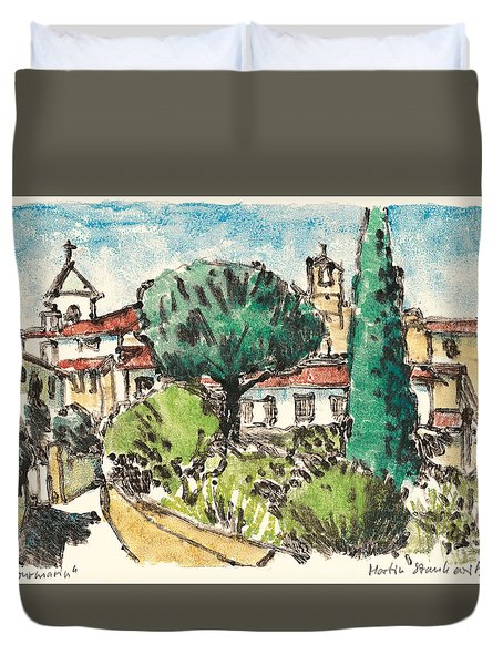 Duvet Cover featuring the painting Lourmarin Provence by Martin Stankewitz