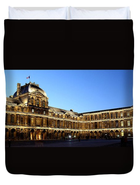 Duvet Cover featuring the photograph Louvre At Night 1 by Andrew Fare