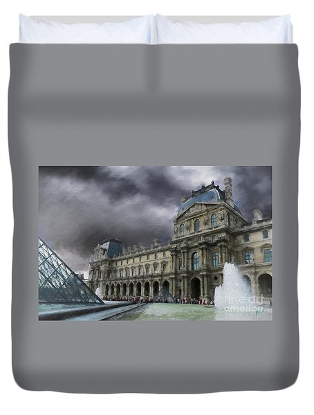 Duvet Cover featuring the mixed media Louvre by Jim  Hatch