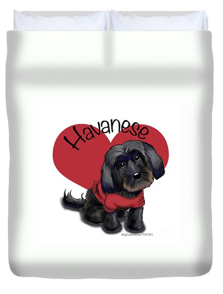 Lovable Black Havanese Duvet Cover by Catia Cho