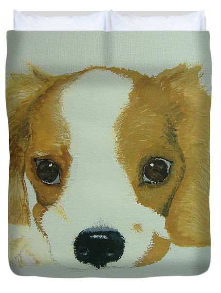 Duvet Cover featuring the painting Lovable Puppy by Norm Starks
