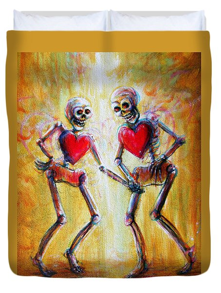 Duvet Cover featuring the painting Love 2 Love by Heather Calderon