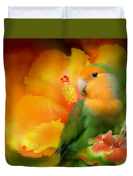 Love Among The Hibiscus Duvet Cover