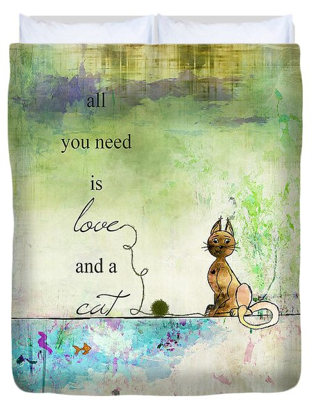 Love And A Cat Ginkelmier Duvet Cover