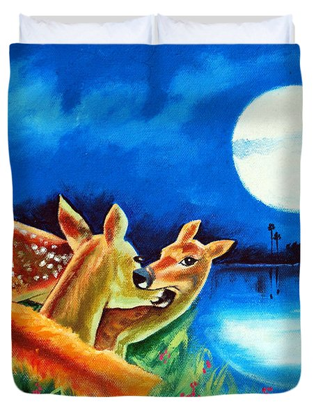 Duvet Cover featuring the painting Love And Affection by Ragunath Venkatraman