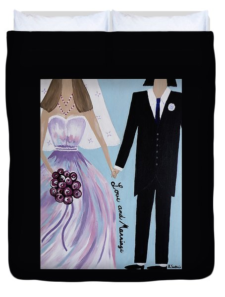 Duvet Cover featuring the painting Love And Marriage by Kathleen Sartoris