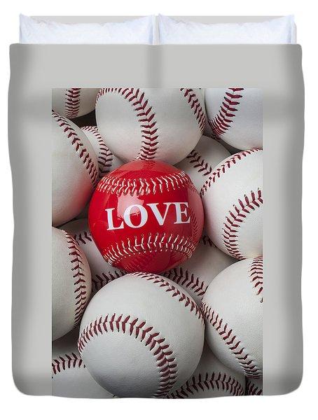 Love Baseball Duvet Cover by Garry Gay