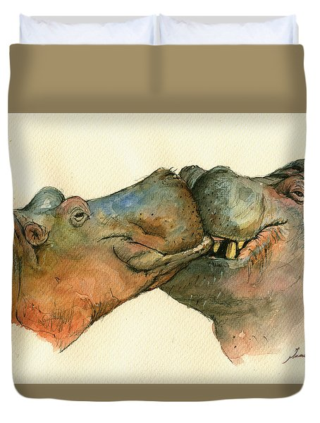 Love Between Hippos Duvet Cover by Juan  Bosco