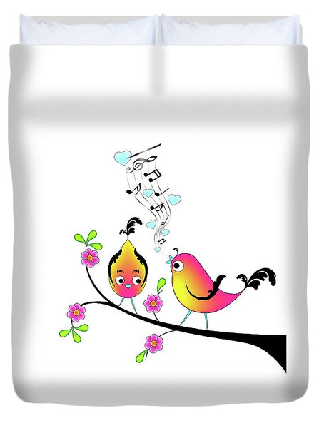 Love Bird Serenade Duvet Cover