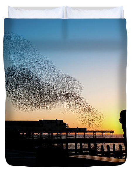Love Birds At Sunset Duvet Cover