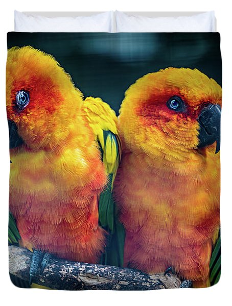 Duvet Cover featuring the photograph Love Birds by Chris Lord