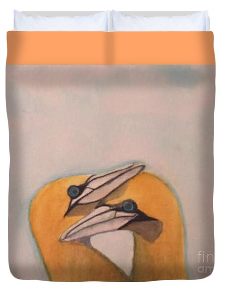 Duvet Cover featuring the painting Love Birds by Elizabeth Coats