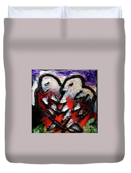 Duvet Cover featuring the painting Love Birds by Genevieve Esson