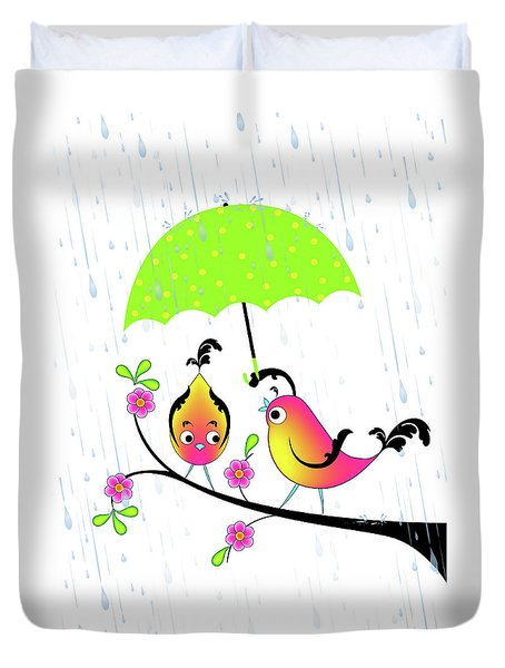 Love Birds In Rain Duvet Cover