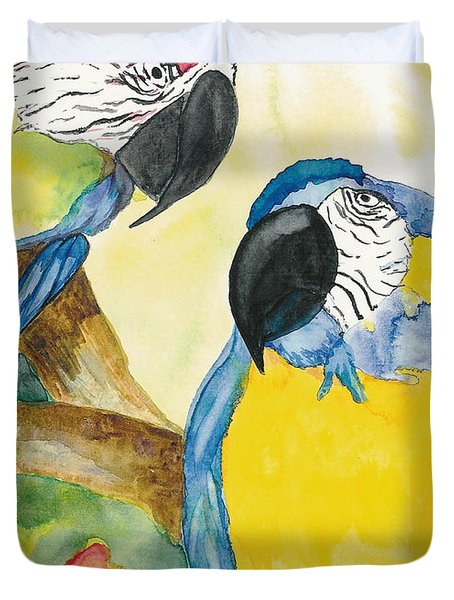 Duvet Cover featuring the painting Love Birds by Vicki  Housel
