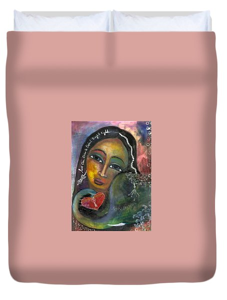 Duvet Cover featuring the painting Love Can Draw An Elephant Through A Key Hole by Prerna Poojara