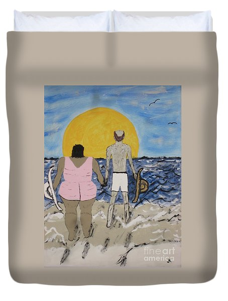 Duvet Cover featuring the painting Love Comes In All Sizes by Jeffrey Koss