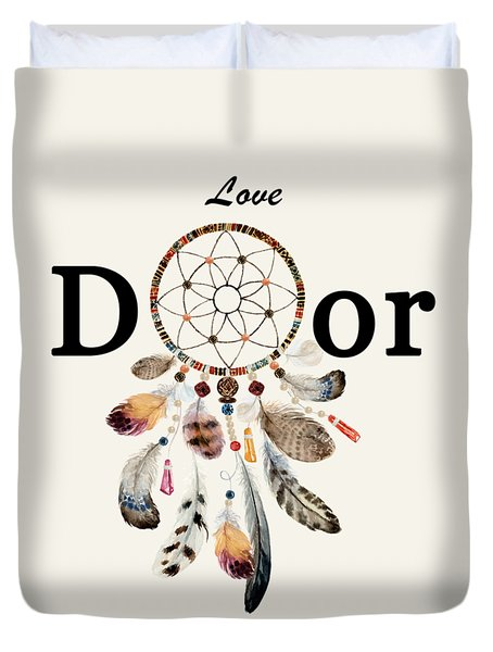 Duvet Cover featuring the painting Love Dior Watercolour Dreamcatcher by Georgeta Blanaru