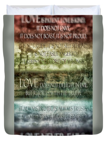 Duvet Cover featuring the digital art Love Does Not Delight In Evil by Angelina Vick
