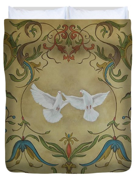 Love Doves Duvet Cover by Jindra Noewi