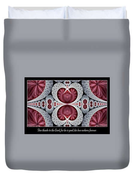 Love Endures Forever Duvet Cover
