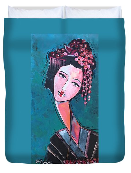 Duvet Cover featuring the painting Love For Geisha Girl by Laurie Maves ART