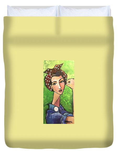 Duvet Cover featuring the painting Love For Riveters by Laurie Maves ART