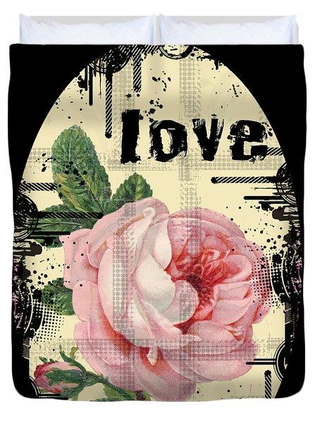 Love Grunge Rose Duvet Cover by Robert G Kernodle