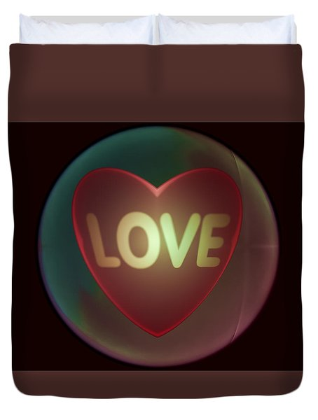 Love Heart Inside A Bakelite Round Package Duvet Cover