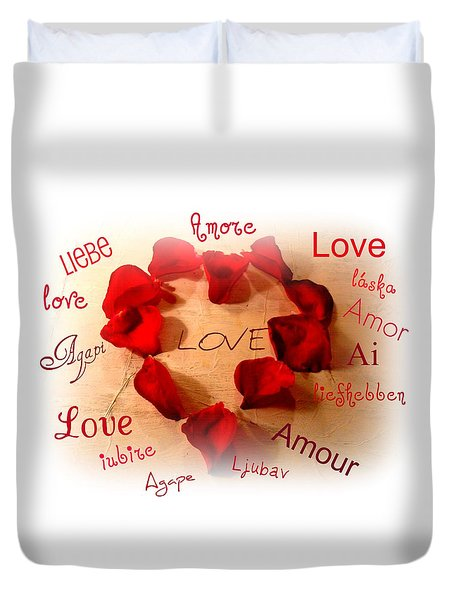 Love In Any Language Duvet Cover by Kathy Bucari