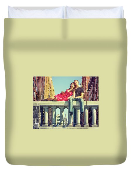 Love In Big City Duvet Cover