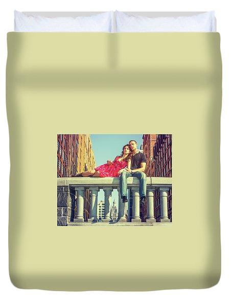 Love In Big City Duvet Cover