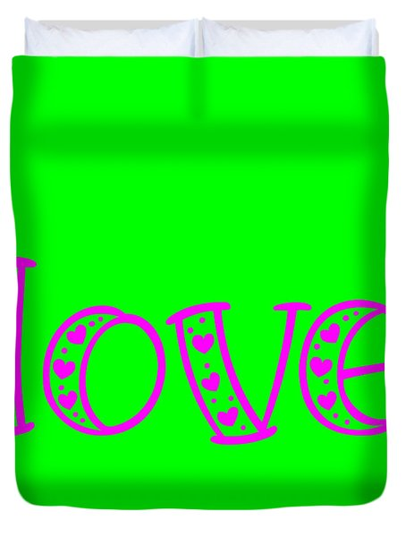 Love In Magenta And Green Duvet Cover