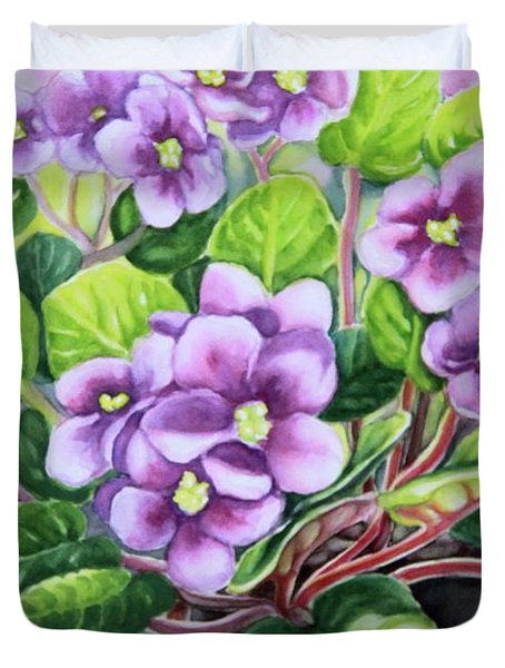 Duvet Cover featuring the painting Love In Purple 2 by Inese Poga