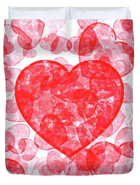 Duvet Cover featuring the digital art Love In The Blood - Heart Pattern by Mark Tisdale