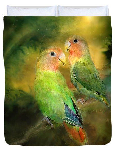 Love In The Golden Mist Duvet Cover by Carol Cavalaris