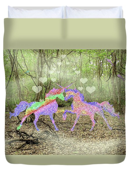 Love In The Magical Forest Duvet Cover by Rosalie Scanlon