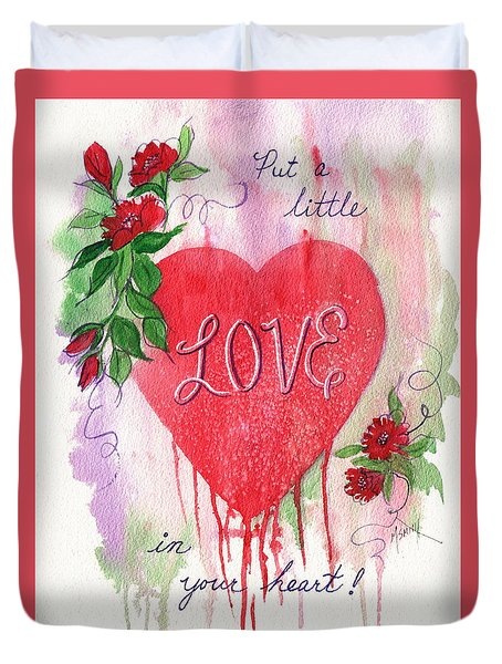 Duvet Cover featuring the painting Love In Your Heart by Marilyn Smith