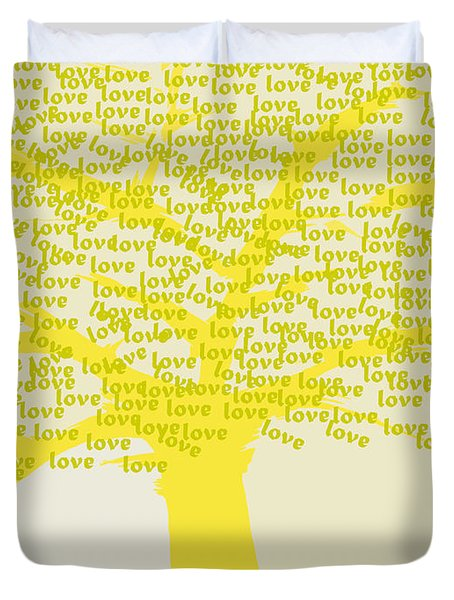 Duvet Cover featuring the painting Love Inspiration Tree by Go Van Kampen