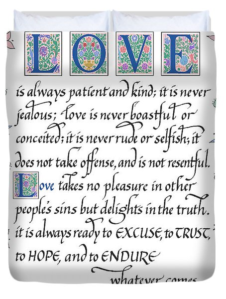 Love Is Always Patient-with Border Duvet Cover